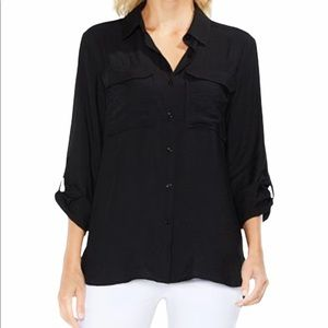 Vince Camuto Black Button Down Womens Size Small